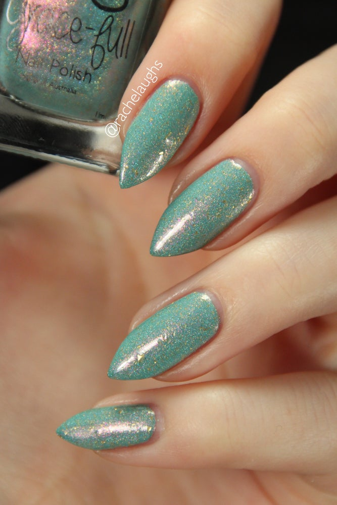 Keeper of the Diary - mint green crème holo with a flash of pink & gold  flakes througho