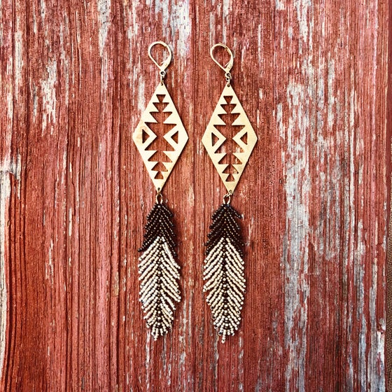 Image of Feather & brass starburst earrings