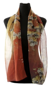 Image of Lily Greenwood Narrow Scarf - Blossoms on Terracotta - HALF PRICE