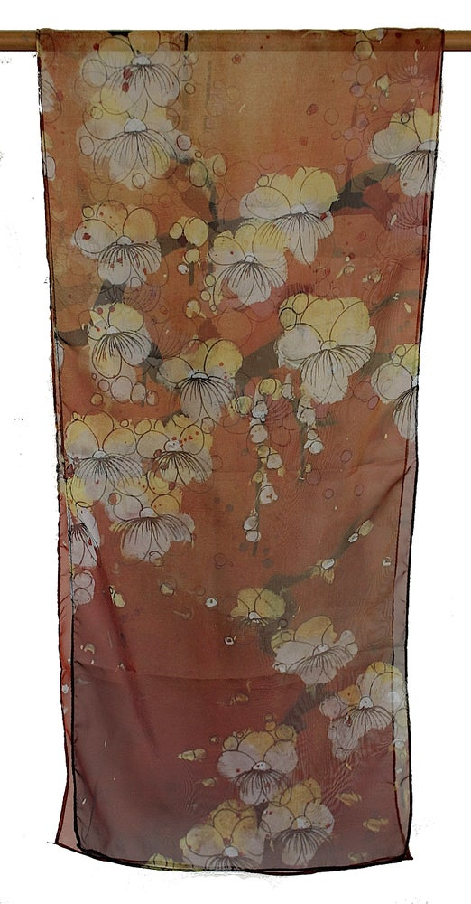 Image of Lily Greenwood Narrow Scarf - Blossoms on Terracotta