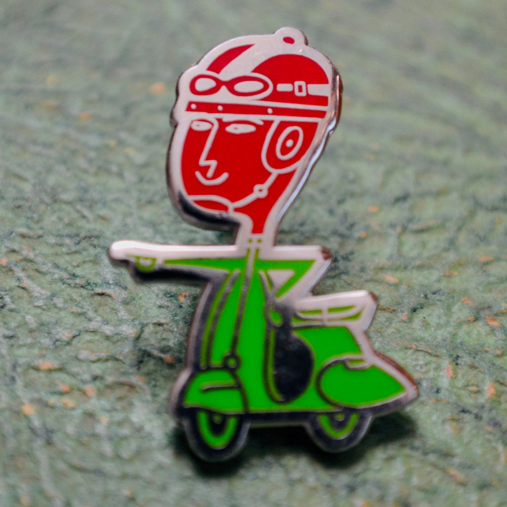 Image of scootaur pin badge