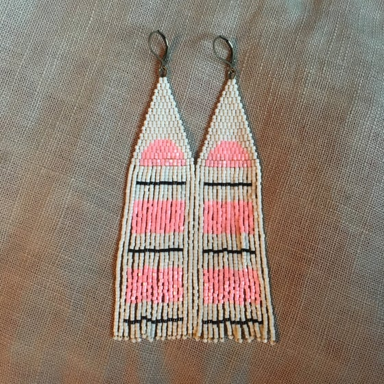 Image of Silk neon pink fringe earrings