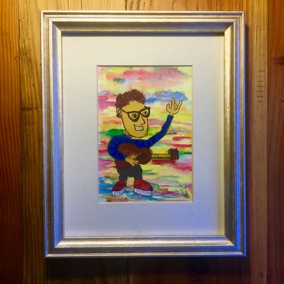 "Image of ""Blue and Black Sweater"" all original watercolor painting by Dan P."