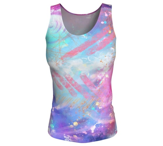 Image of Pink and blue abstract workout tank top