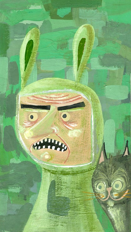 Image of Angry neighbor with his cat, Herman. Original painting.