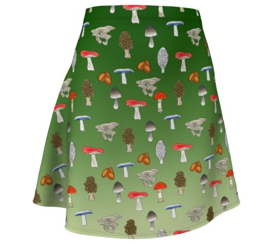 Image of Ombre forest mushroom skater skirt