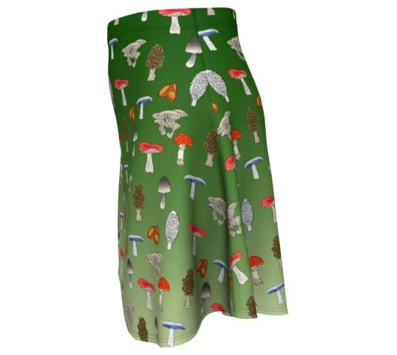 Image of Ombre forest mushroom skater skirt