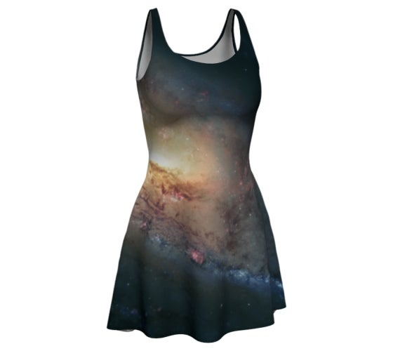 Image of M106 spiral galaxy skater dress