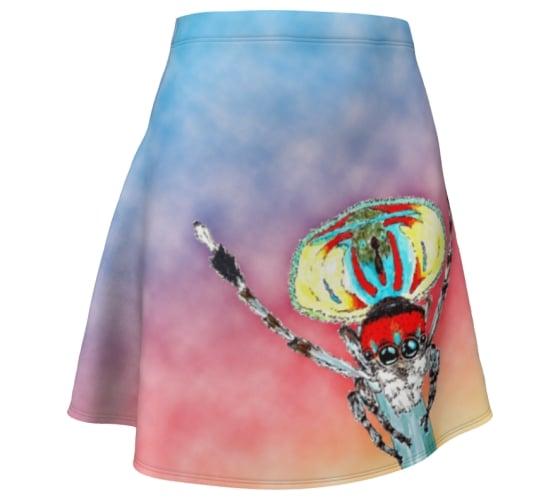 Image of Dancing Peacock spider skater skirt
