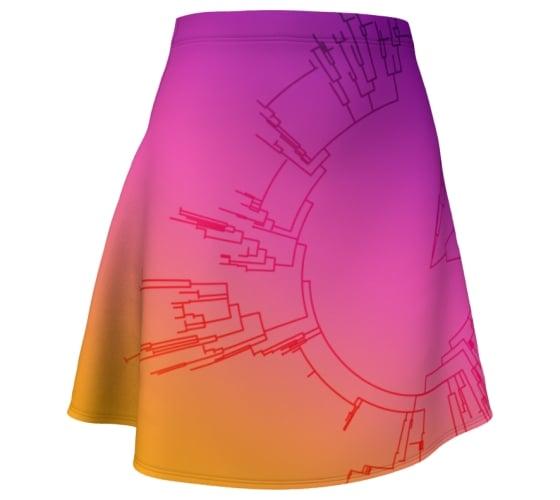 Image of Ombre circular phylogeny skater skirt
