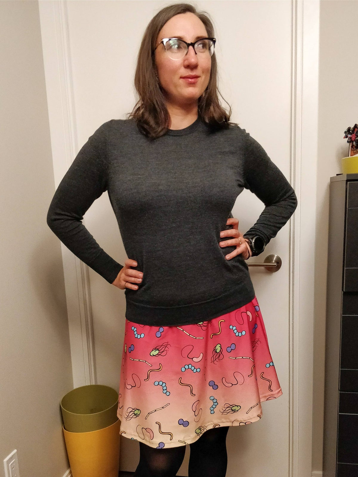 Image of Ombre microbiology skater skirt