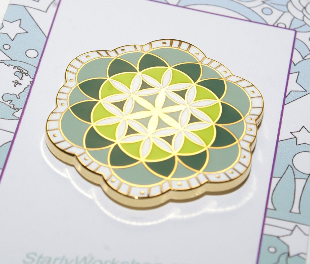 Image of Flower of Life - Hard Enamel Lapel Pin
