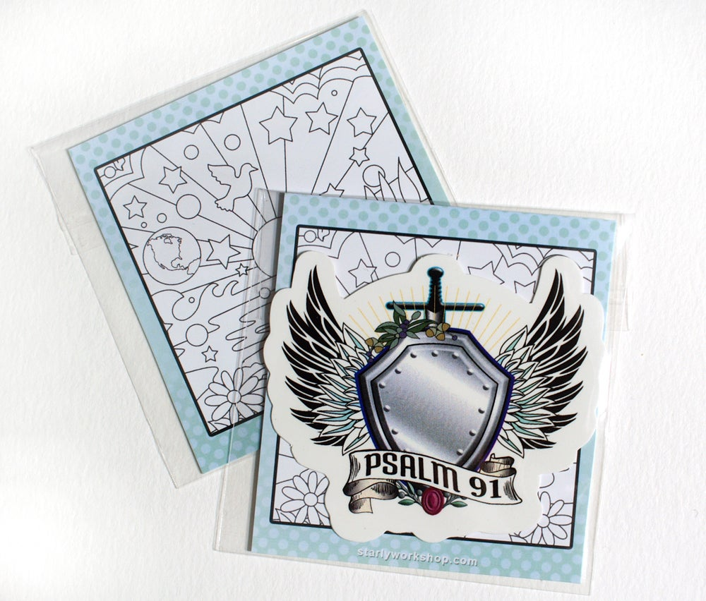 Image of Psalm 91 Winged Shield Decal
