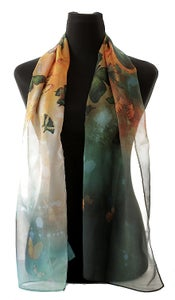Image of Lily Greenwood Narrow Scarf - Butterflies on Prussian Blue/Turquoise/Gold - HALF PRICE