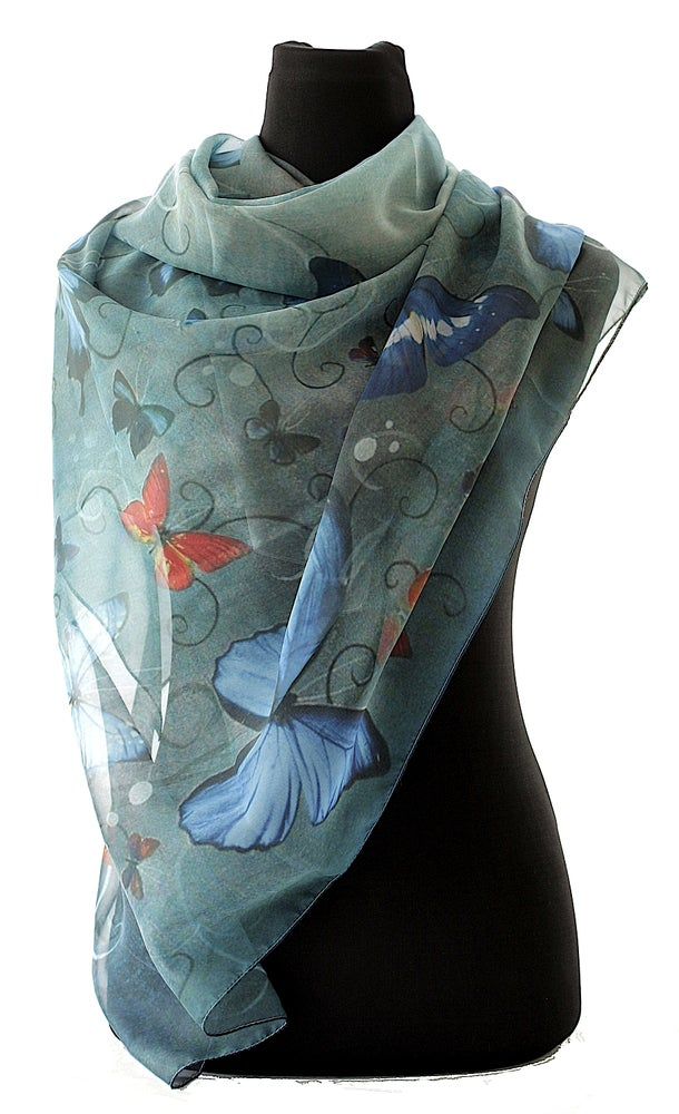 Image of Lily Greenwood Large Scarf - Butterflies on Blue