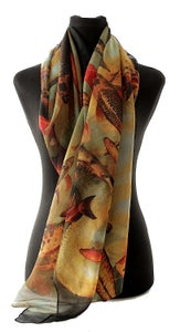 Image of Lily Greenwood Large Scarf - Koi on Black/Aqua/Gold