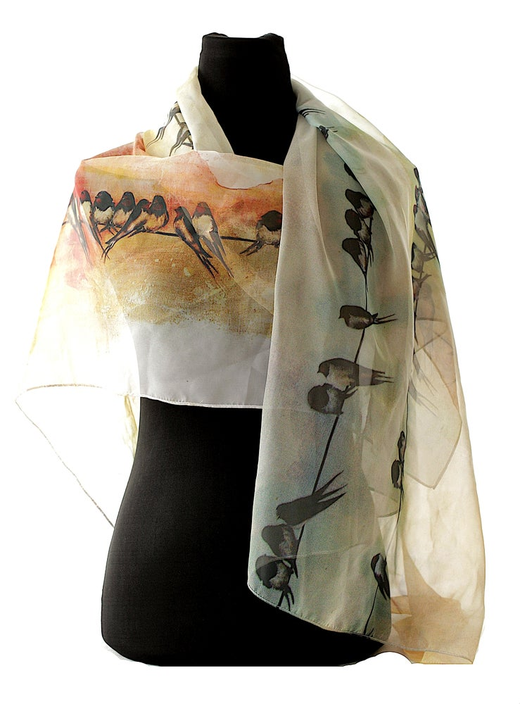 Image of Lily Greenwood Large Scarf - Swallows at Sunrise