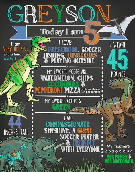 Image of Dino & Dirtbike Birthday Chalkboards