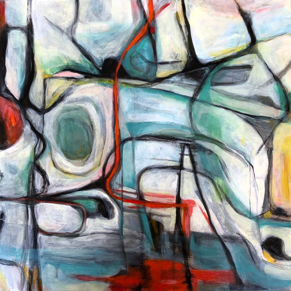 Image of Detours- original painting on board- abstract