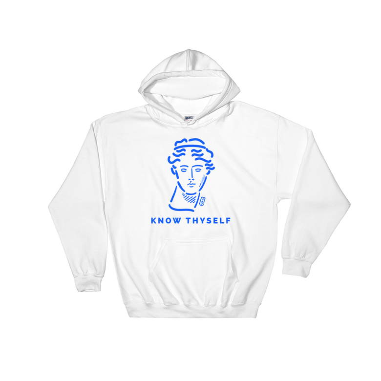 Image of WHITE HOODIE-KNOW THYSELF-