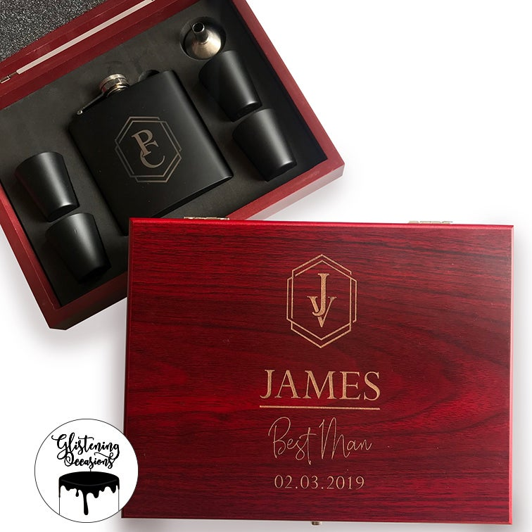 Image of Custom Monogrammed Flask Gift Set