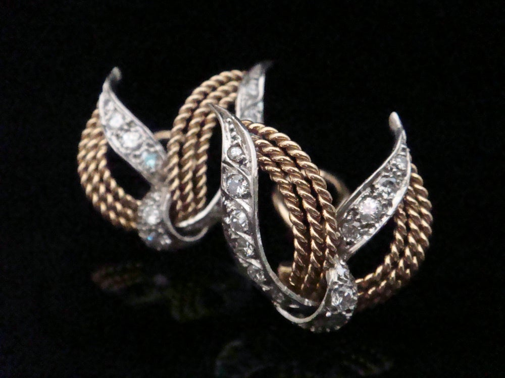 Image of Retro 18ct whote and yellow gold diamond 0.80ct clip earrings 8.6g designer