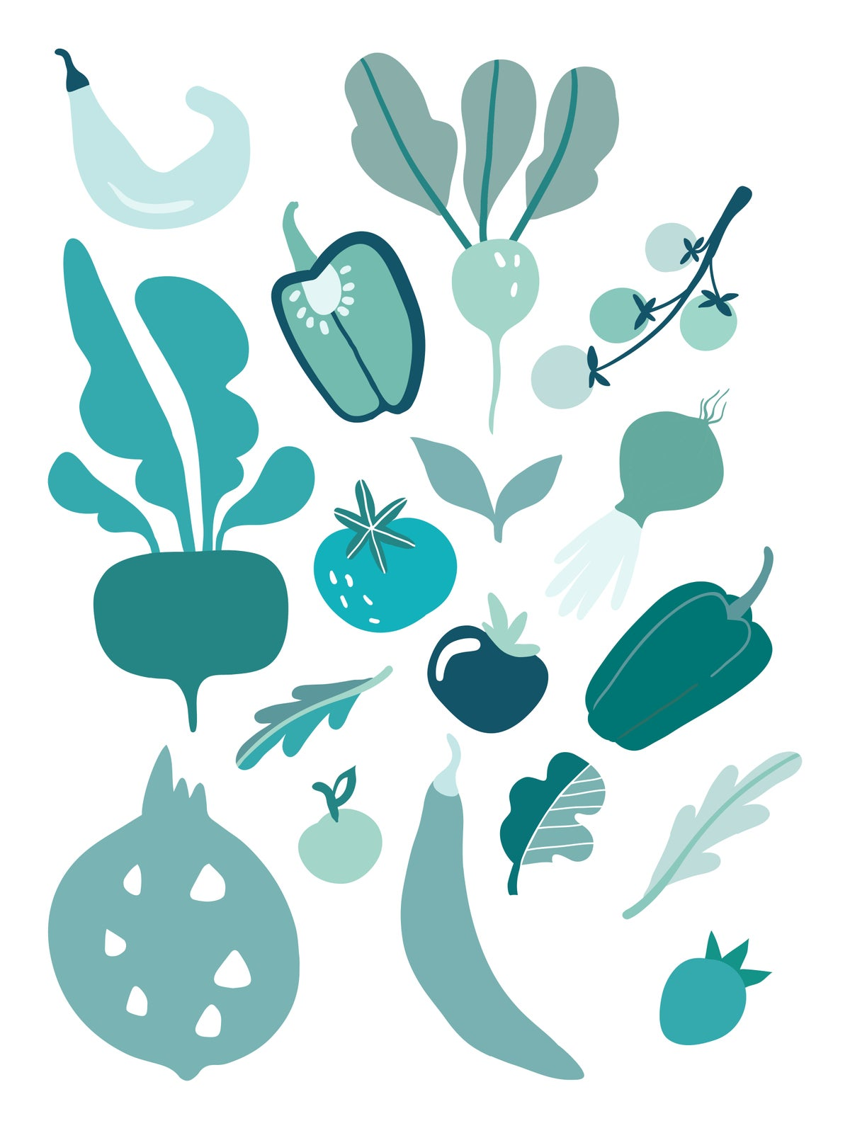 Fruit and Veggie Print Teal