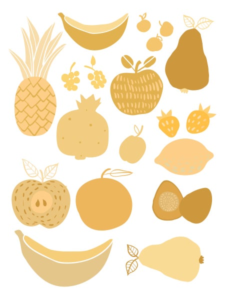 Image of Fruit and Veggie Print Yellow