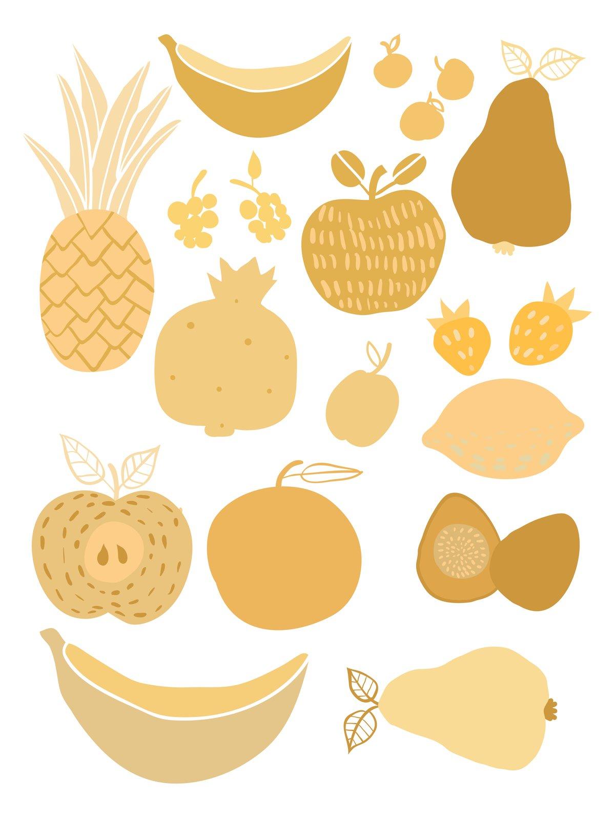 Fruit and Veggie Print Yellow