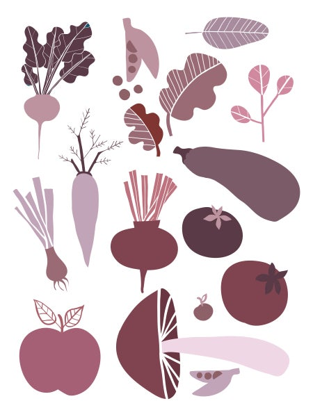 Image of Fruit and Veggie Print Purple