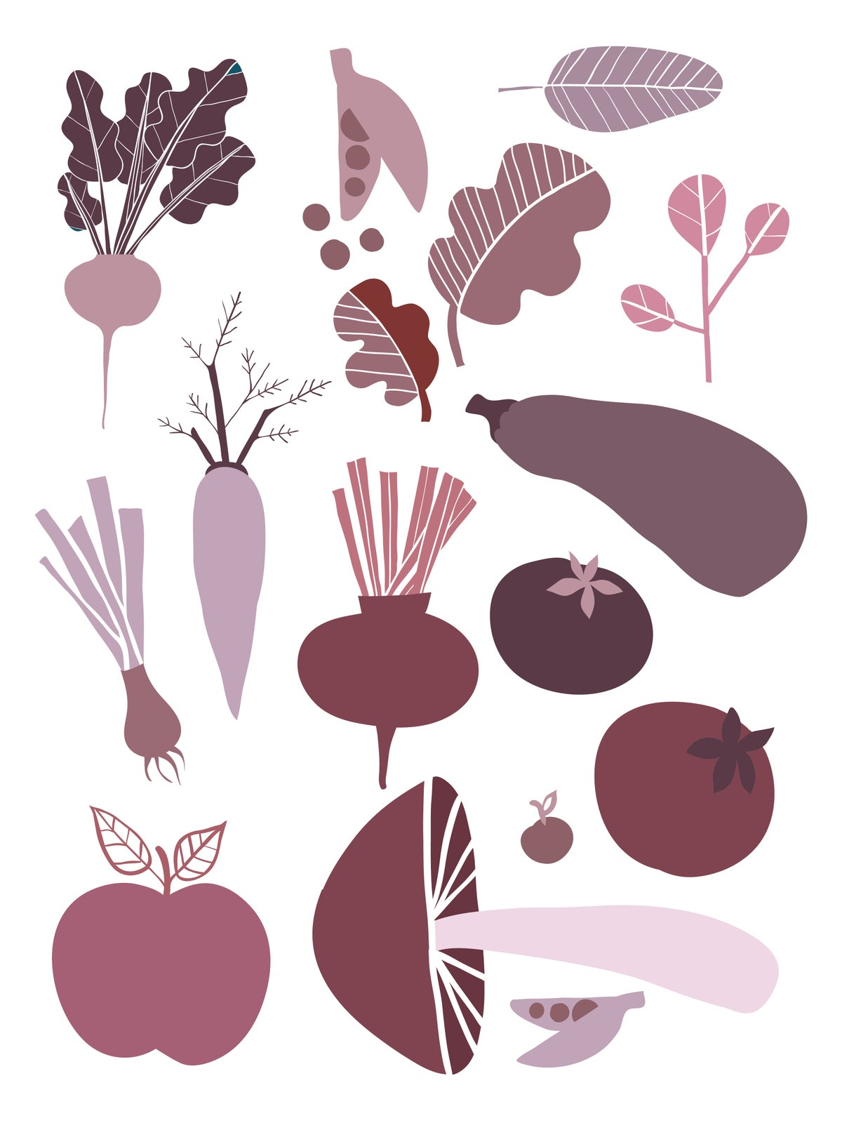 Fruit and Veggie Print Purple