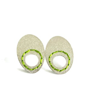 Image of Sewn-Up earrings with circle cut out