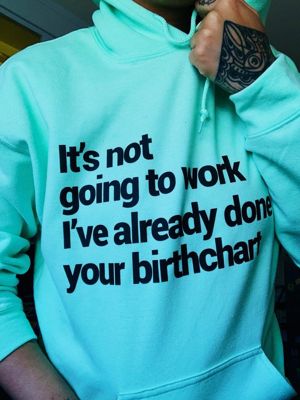 Image of Incompatible Hoodie in Mint Green.
