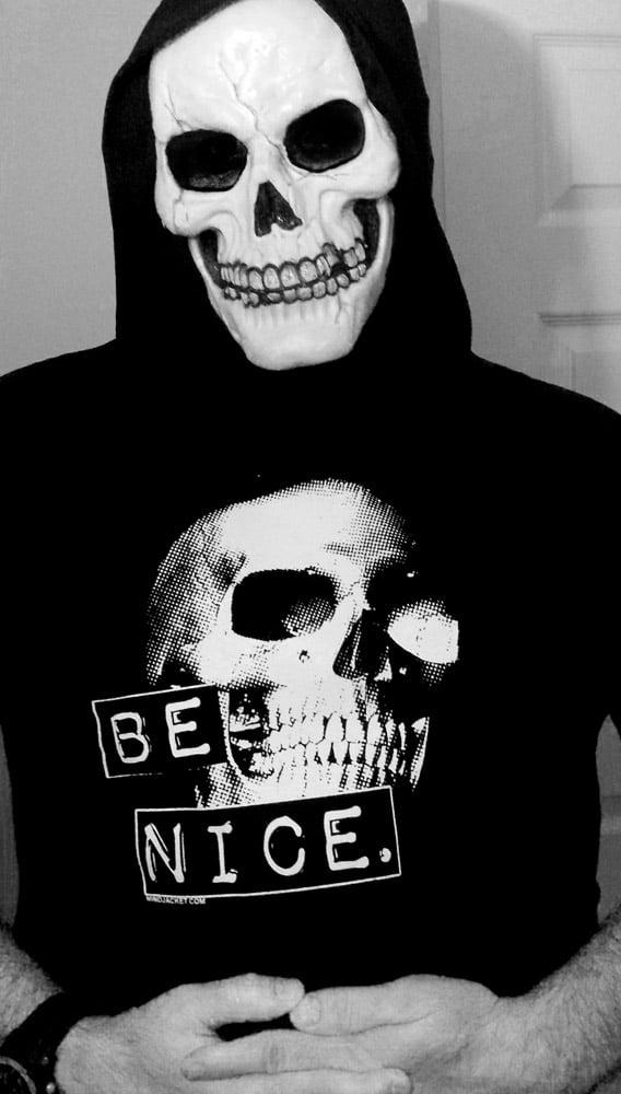 Image of Be Nice retro punk skull shirt