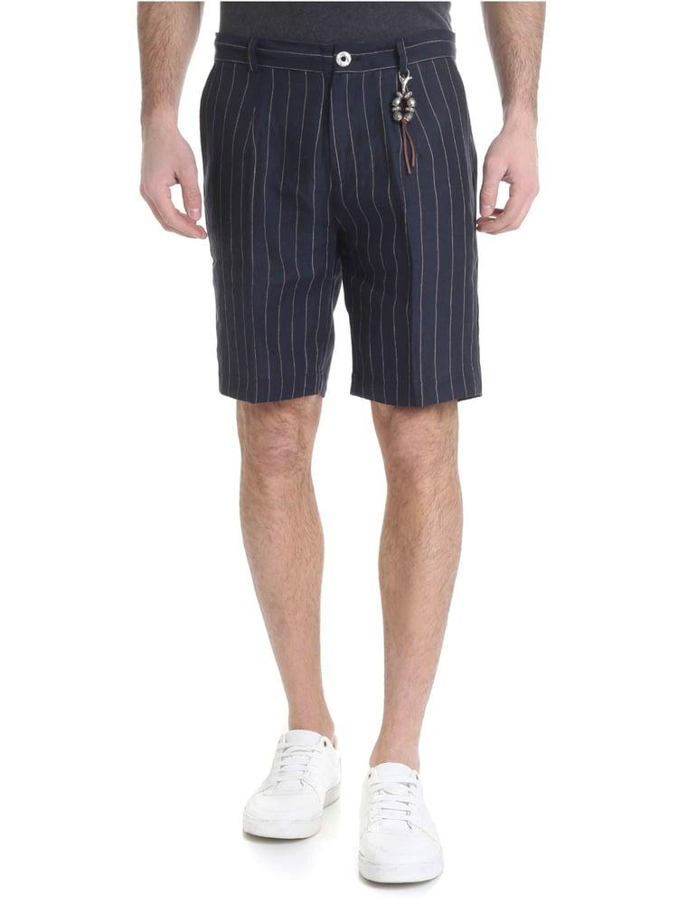Image of Pantalone bermuda lino gessato blu R97 L-BGE