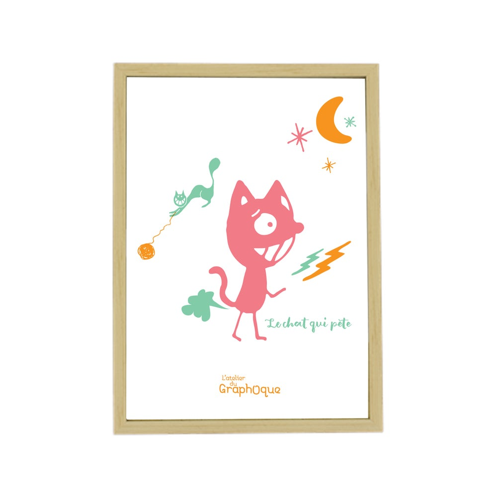 Image of Sérigraphie sous cadre - Le chat qui pète