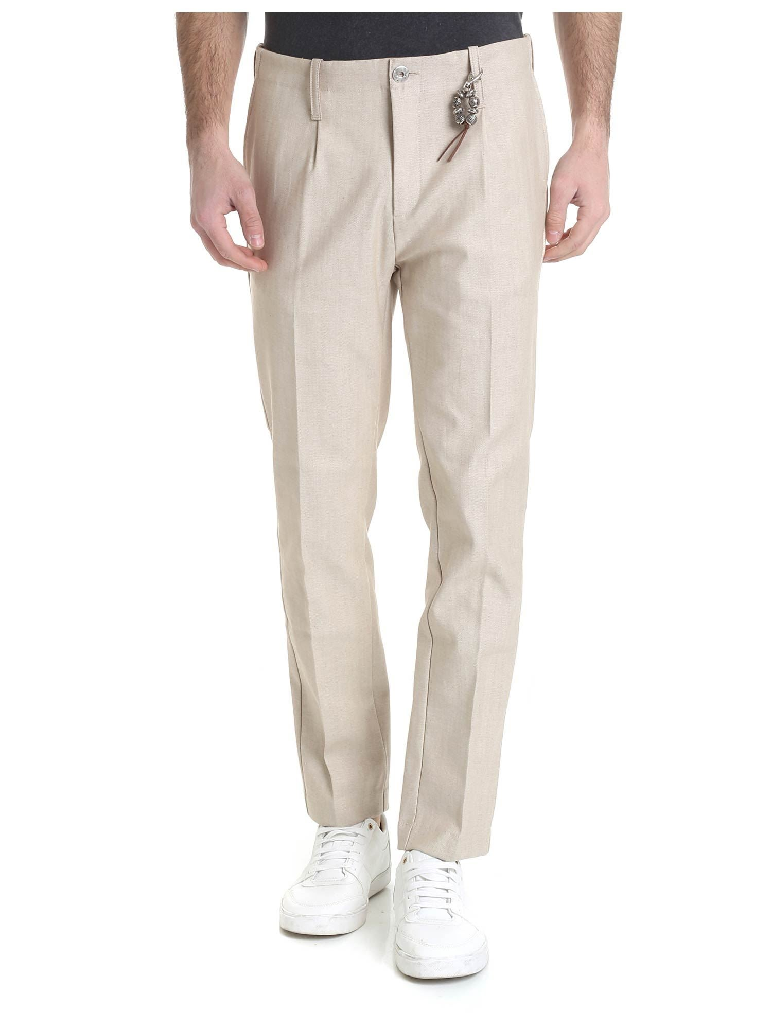 Image of Pantalone in denim beige 1 pince R92 D-BE
