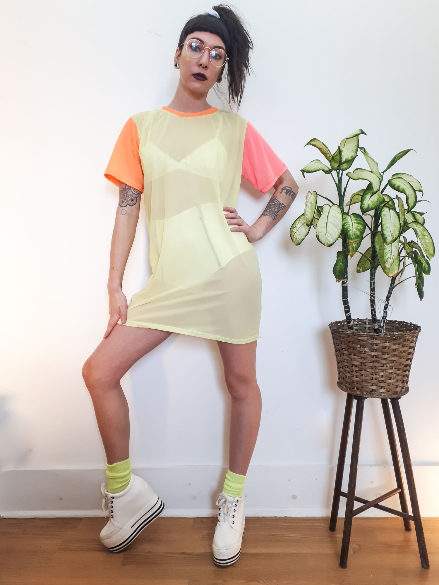Image of Neon Block Colour Mesh Tee