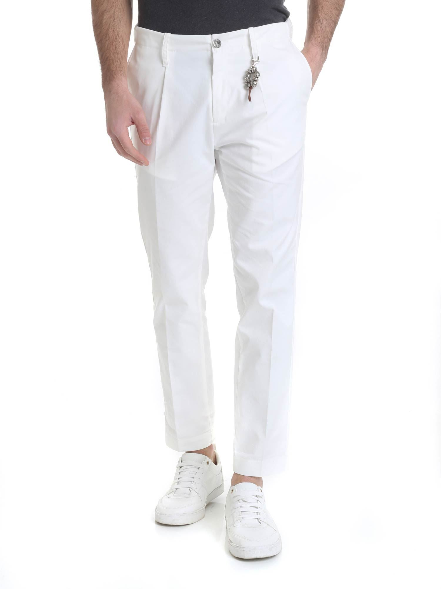 Image of Pantalone in cotone bianco 1 pince R92 C-B