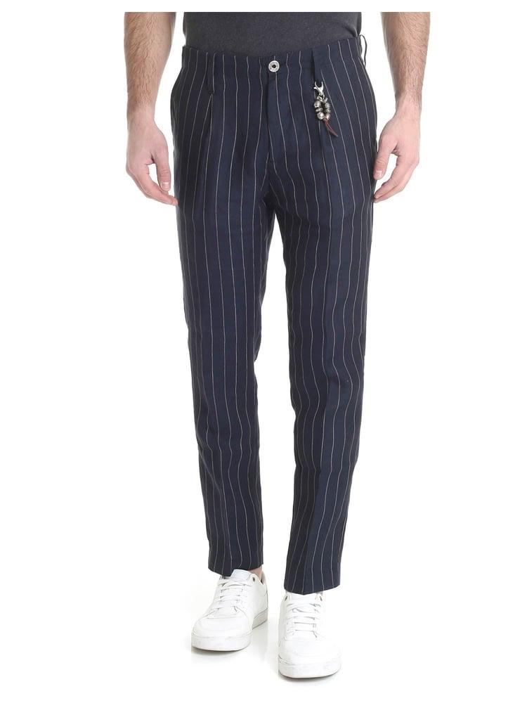 Image of pantalone in lino blu gessato 1 pince R92 L-BGE