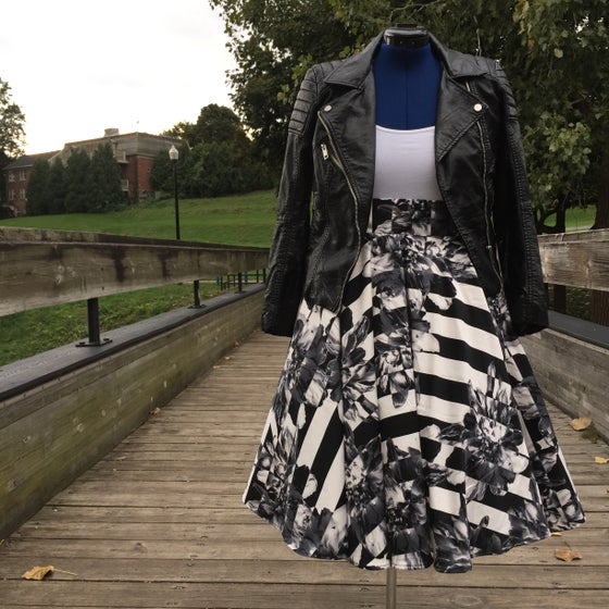 Image of Black and White Midi Skirt