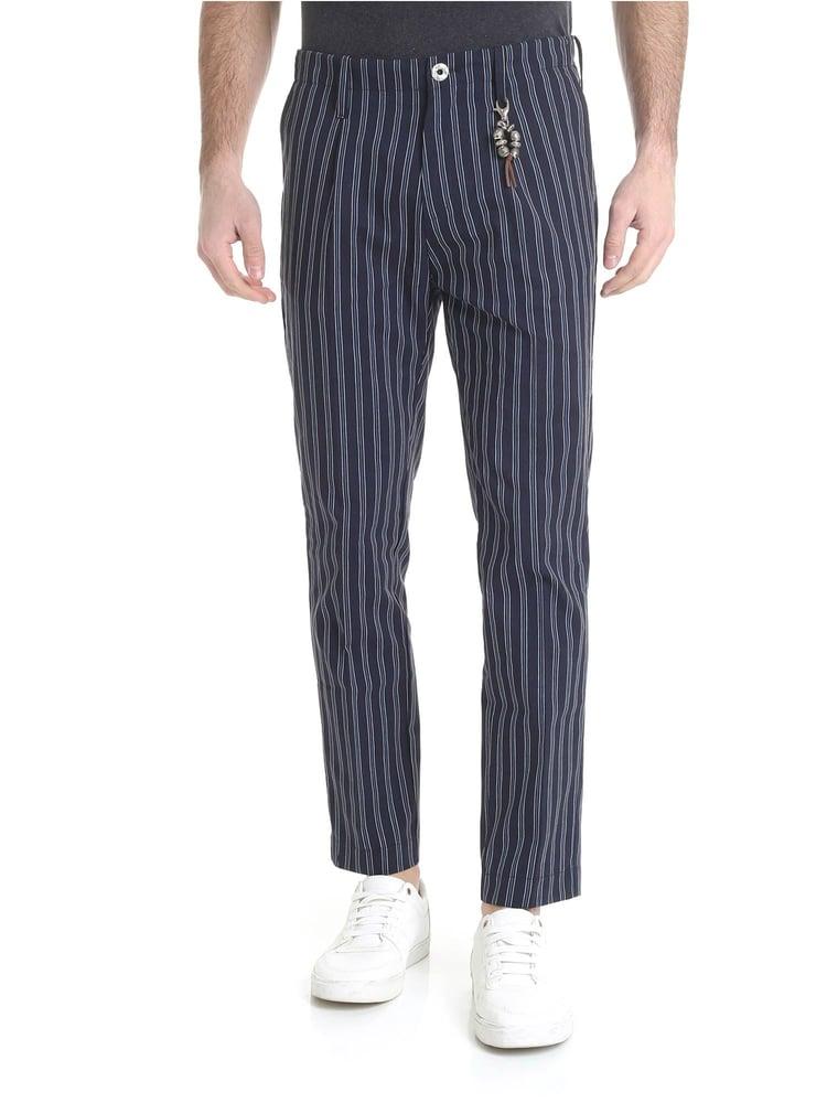 Image of pantalone in lino blu rigato con 1 pince r92 l-br
