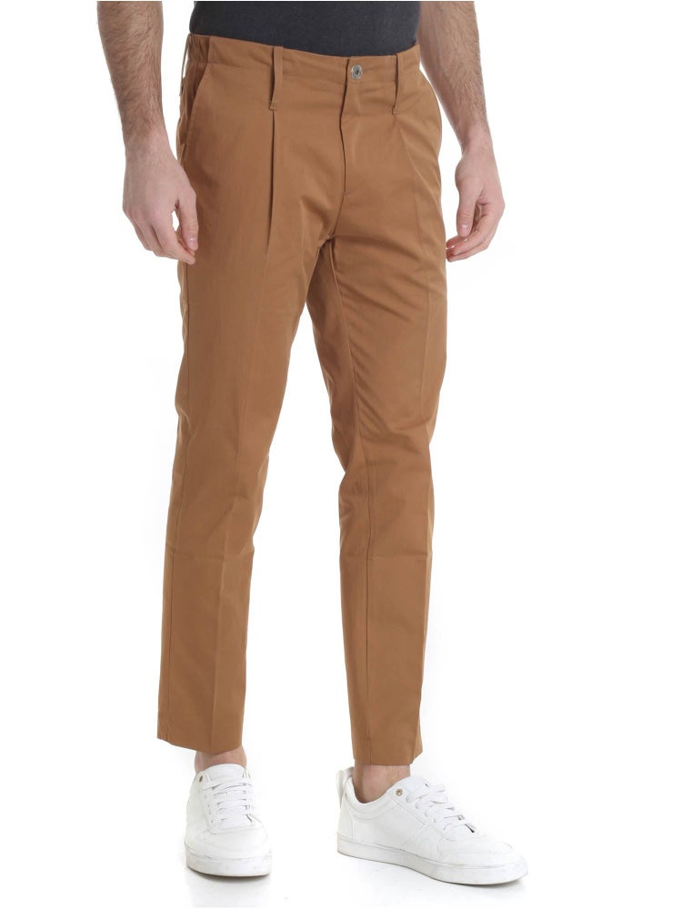Image of PANTALONE IN COTONE MARRONE 1 PINCE R93 C-M