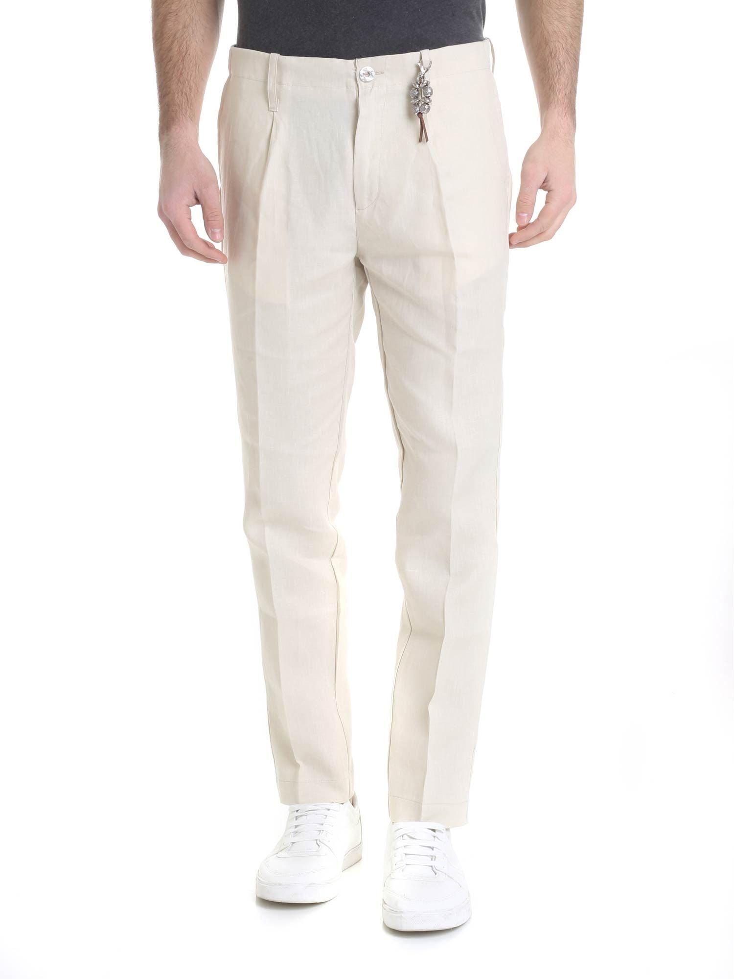 Image of Pantalone in lino beige con 1 pince R92 L-BE