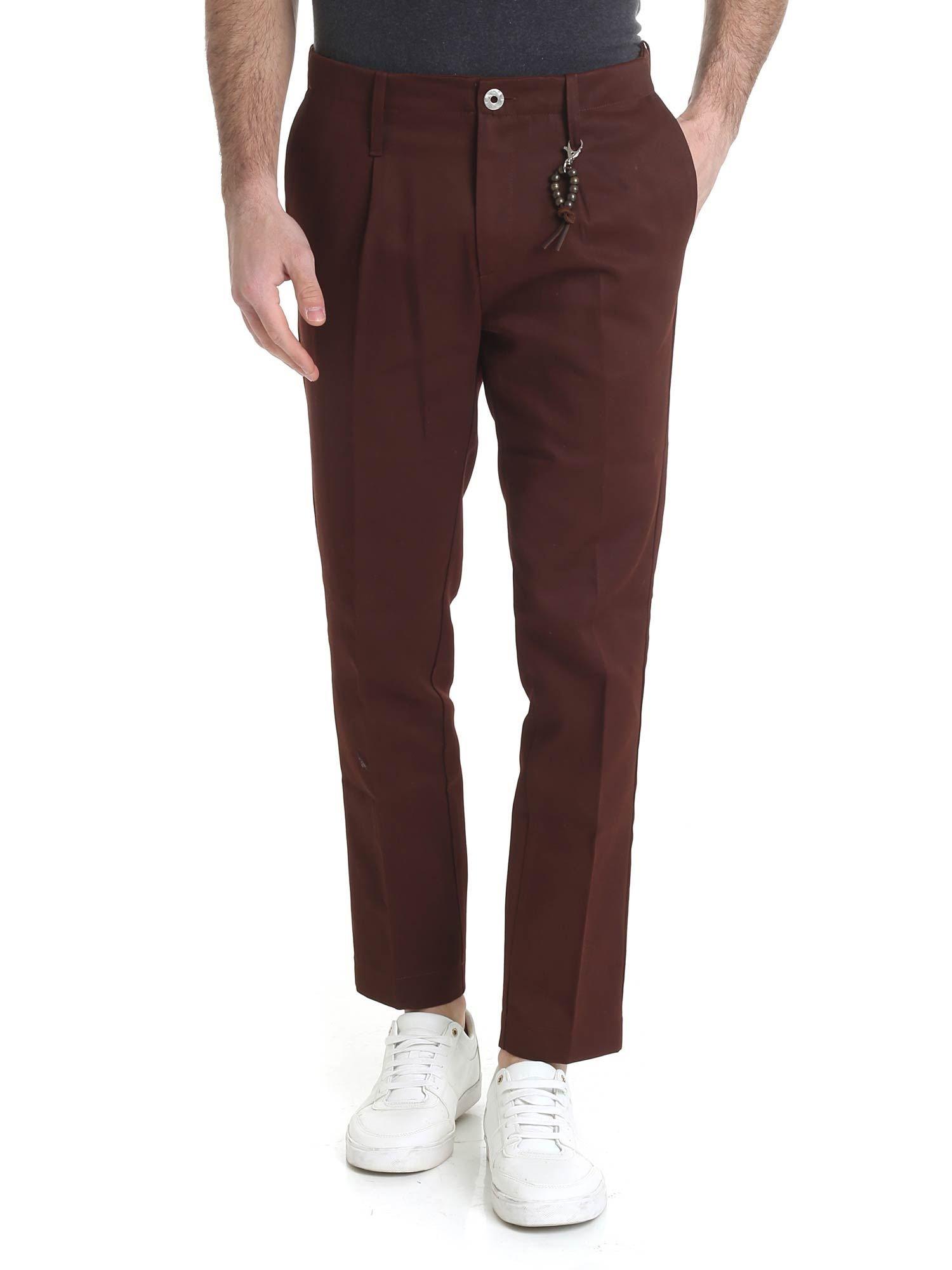 Image of pantalone in cotone rosso ruggine con 1 pince R93 C-RR