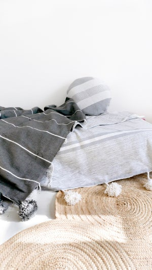 Image of Moroccan POM POM Cotton Blanket - White and Light Grey stripes