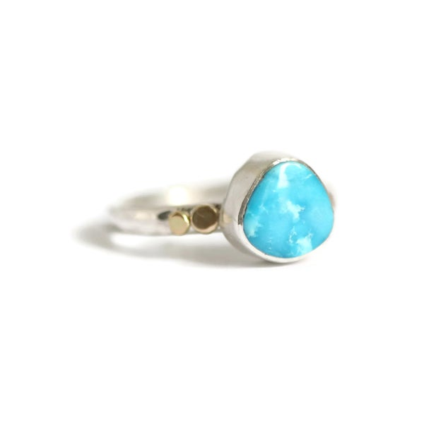 Image of Turquoise Silver Ring with recycled gold