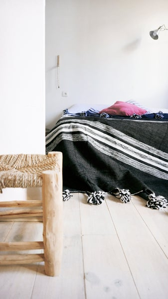 Image of Moroccan POM POM Cotton Blanket Black - White Stripes