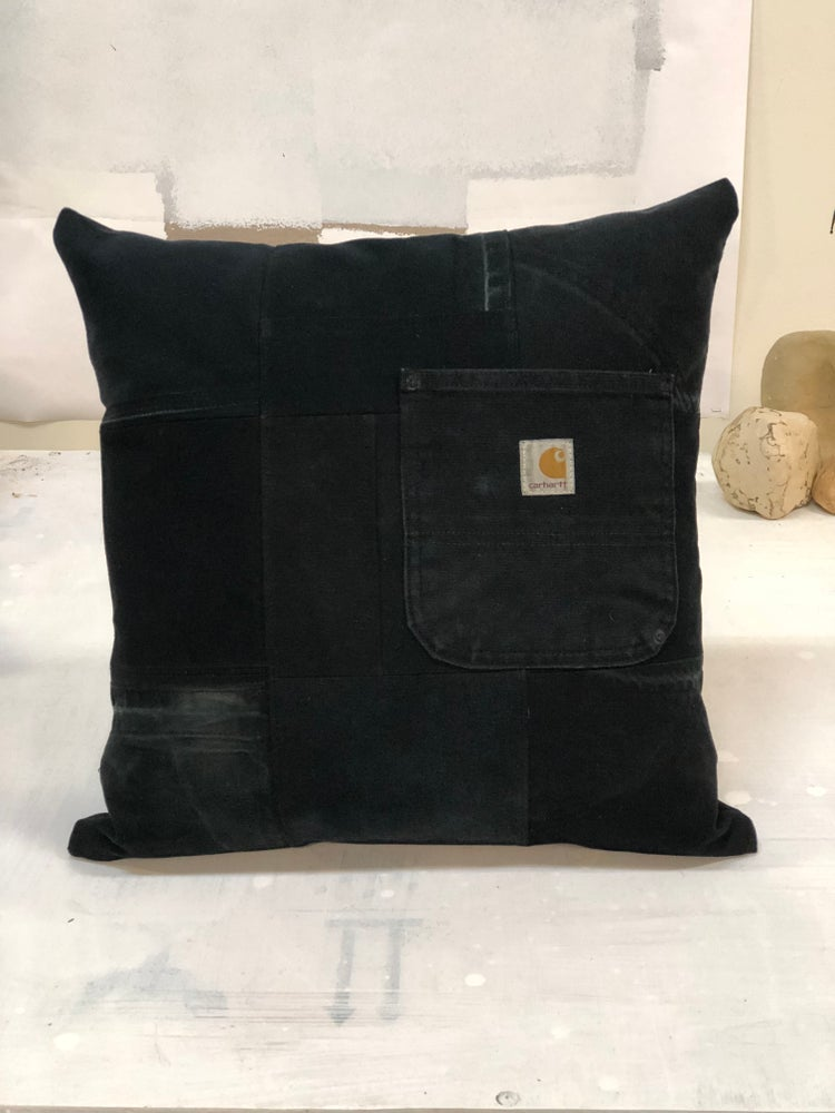 Image of Repurposed Quilted Black Carhartt Pillow