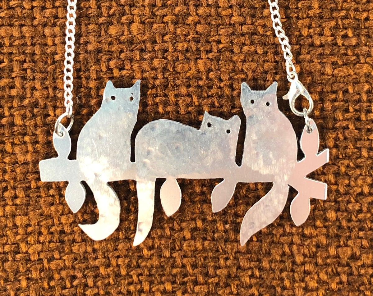 Image of Three Cats in a tree necklace